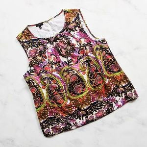 Talbots Silk-blend Floral Paisley Shell Tank